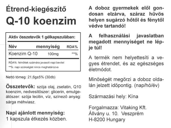 """Képtalálat a következőre: """"Q10 koenzim 100mg – Vitaking"""""""