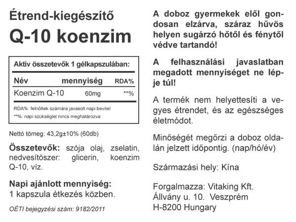 VitaKing Q10 koenzim 60mg – 60db kapszula hatóanyaga