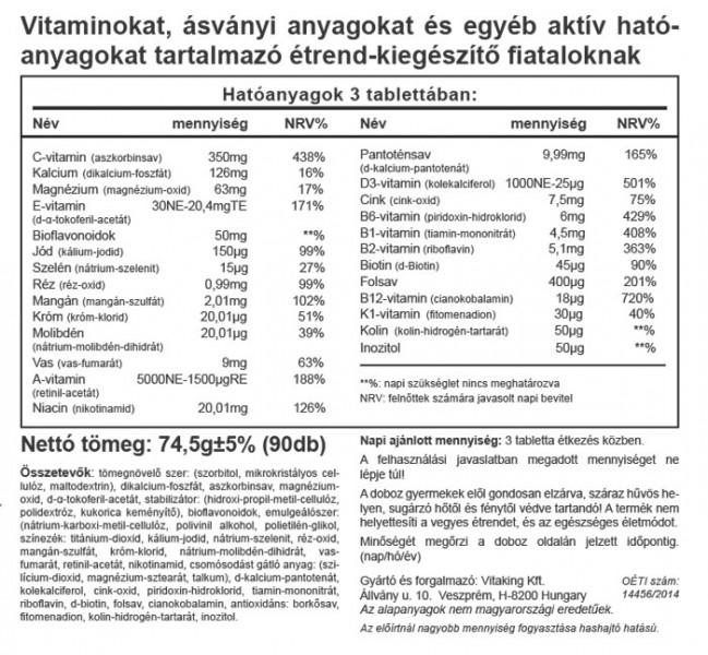 Vitaking Mega Vitamin Tiniknek 90db tabletta összetevői