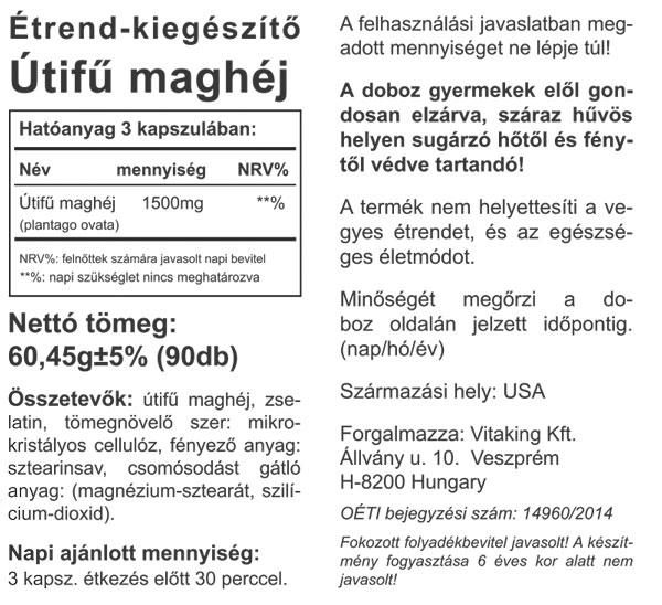 Vitaking Psyllum Husk Utifűmaghéj 500mg 90db összetevői