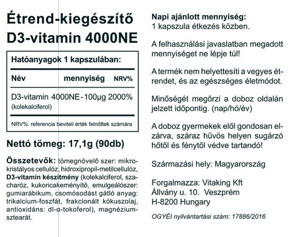 Vitaking D3-vitamin 4000NE kapszula