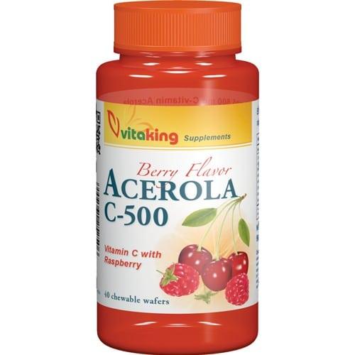 VitaKing Acerola C-vitamin komplex 500mg - 40db rágótabletta