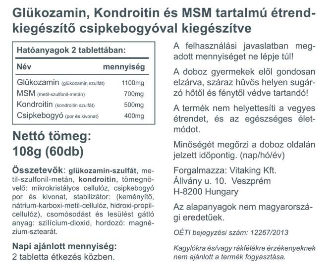 """Képtalálat a következőre: """"Vitaking Glükozamin-Kondroitin-MSM (60 db)tabletta"""""""